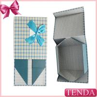 Quality Customized Handmade Paper Board Rigid Collapsible Folded Foldable Folding Gift Boxes with Ribbon Bowtie wholesale