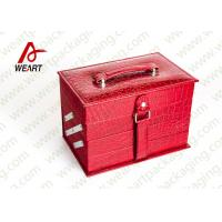 Quality Closed Red Round Makeup Customized Paper Box With Handle & Mirror wholesale