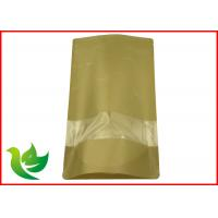 Buy cheap Resealable Brown Kraft Paper Stand Up Pouch With Zipper , SGS BRC Compliant product