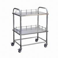 Stainless Steel Instrument Trolley with Four White Castors