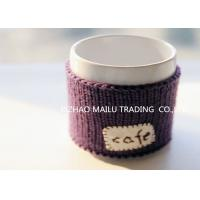 Quality Cafe logo purple embroidery hand knitted mug warmer sleeve cup sweater wholesale