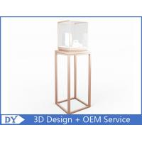 Quality OEM manufacturing high end stainless steel museum pedestal display case with led spot lights wholesale