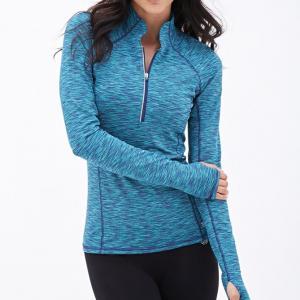 China 320gsm Blue Nylon Plus Size Running Plain Stretchable Women Yoga Jacket on sale