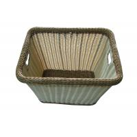 Quality Rectangular Plastic Rattan Wicker Laundry Basket Brown / Beige For Clothes Storage wholesale