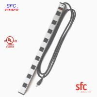 Quality Grounded 9 Outlet Metal Low Profile Plug Power Strip With Long Extension Cord wholesale