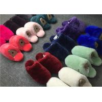 Quality Dyed Colors Indoor Womens Fur Lined Slippers Soft Sole Moisture Absorption wholesale