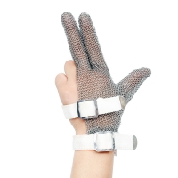 China Three Finger Wrist Ring Mesh Glove With Textile strap ring mesh cut resistant gloves on sale