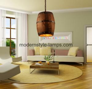 China Hotel Winery Decoration Wood Modern Chandelier Barrel Wood Pendant Light on sale