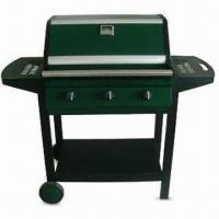Quality Steel Hooded Trolley Gas Barbecue Grill with Tubed Triple Burner, CE-marked wholesale