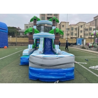 China Jungle Palm Tree Theme EN71 Inflatable Water Slide With Pool on sale