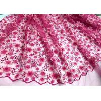 Quality Colored Handmade 3D Flower Lace Fabric , Scalloped Embroidered Mesh Lace Fabric wholesale