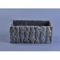 Quality rough surface long square cement concrete candle holder with embossed pattern wholesale