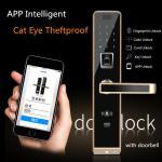 Quality 6 Unlock Ways Intelligent Door Lock With APP Remote Control & Anti Cat Eye Functions wholesale