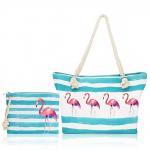 Quality Summer Flamingo Big Zip Top Beach Tote Bulk Modern Hemp Rope Handle wholesale