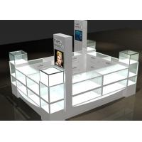 Cheap Watch Custom Mall Kiosk Crystal Glass Combine Wood With LED Spot Lights for sale