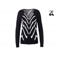 China Jacquard Knit Ladies V Neck Cardigan Sweater With Full Zipper Skin Friendly Non Wrinkle on sale