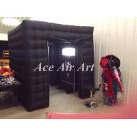 Quality photo favors black led lighting inflatable photo booth cube tent with curtain for party and events wholesale