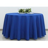 Quality Dark Blue Wedding Textile Round Linen Table Cloths , 90 / 108 Inch Round Tablecloth wholesale