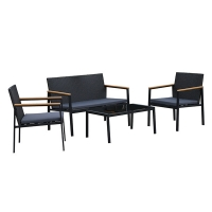Quality Waterproof H750mm Sofa D490mm Table 4 Piece Rattan Set PE Rattan wholesale