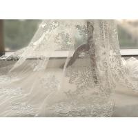 Quality White Tulle Corded Bridal Stretch Lace Fabric , Floral Embroidered Wedding Dress Lace Fabric wholesale