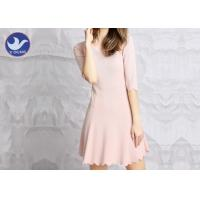 Quality Water Ripple Edge Pink Knitted Jumper Dress Half Sleeves Nipped Waist For Summer wholesale
