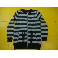 Quality Funky Drawstring Girls Zip Up Jacket , Grey And White Striped Top For Kids wholesale