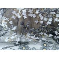 China Black White Flowers Mesh Lace Fabric Width 48 - 49 With Water Soluble Embroidered on sale