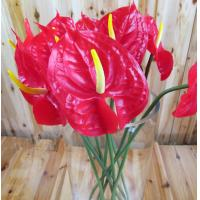 China Artificial Faux High Simulation PU Material Home Decor Anthurium Flower on sale