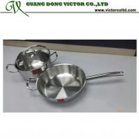 China High quality Tri-ply stainless steel cookware set 22cm pot 26cm frying pan on sale