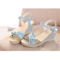 Quality Colorful PU Straps Upper Women'S Wedge Sandals , Beautiful Ankle Strap Wedge Sandals wholesale