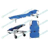 Quality 186 * 51 * 25cm Hospitals Sports Foldaway stretcher with two castors and safety belts wholesale
