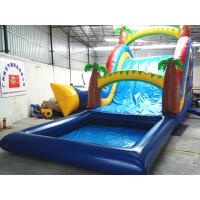Quality PVC tarpaulin Safety exciting inflatable water slides with pool for commercial / Family wholesale