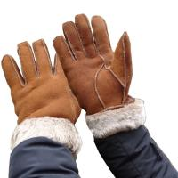Cheap Wholesale Cheap Machine Sewing Stitching Lamb Fur Winter Warm Leather Gloves Men for sale