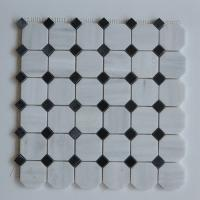 Quality Arabescato Carrara White Italian Stone Mosaic Tile With Octagon Black Dots wholesale