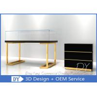 Quality Wood Stainless Steel Jewelry Display Cases With Led Matte Black + Mirror Gold Pre Assemble wholesale