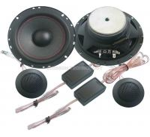 Quality 30w 2 Way 6.5 Car Component Speaker , Black Round 4 Ohm Loudspeakers wholesale