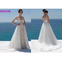 Quality Lace And Sequinned V Neckline Mermaid Style Wedding Dress Detachable Over Skirt wholesale