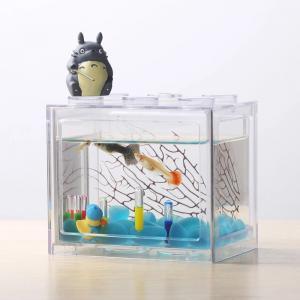 China Acrylic Fish Tank Aquarium  Office Mini Cuboid Fish Tank Cylinder Round Acrylic coffee table Betta Fish Tank out door on sale