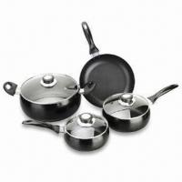 China 7-piece Non-stick Aluminum Cookware Set, Belly Shape, Equal Distribution and Fast Heat Transfer on sale