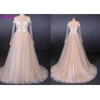 Quality Long See Through Lace A Line Tulle Female Wedding Dress With Pearls Beading wholesale