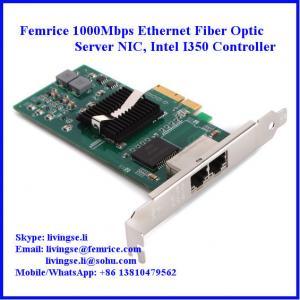 Quality 10/100/1000Mbps 2xRJ45 Connector Gigabit Ethernet Server NIC, Intel I350 Chipset wholesale
