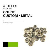 China Custom 4 Holes Metal Clothing Buttons Antique Brass Color Bulk Fashion Apparel on sale
