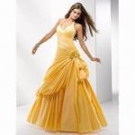 Quality Halter Yellow Taffeta A-line Bridal Evening Dress wholesale
