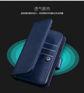 Cheap Magnetic Clip Leather Iphone 6 Plus Wallet Case Detachable Dark - Blue for sale