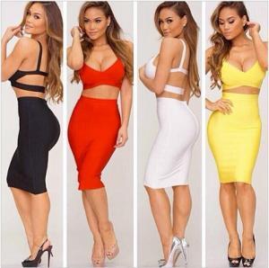 Quality Fashion Bandage 2 Piece Dress , Ladies Bandage Dress Sleeveless wholesale