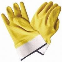 Quality Cotton jersey lining latex wrinkle gloves with yellow latex coating wholesale