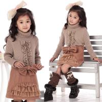 Quality Bow Lace Blocked Woolen Girls Winter Skirts , Comfy Elastic Waist A Line Skirt wholesale