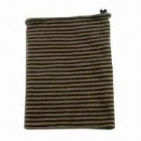 Quality Knitted Acrylic Neck Warmer with Drawstring on Top and Knitted Stripes, Reversible Style wholesale