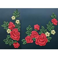 Quality Colorful Polyester Neckline Embroidered Applique Patches / Large Embroidered Flower Patches wholesale