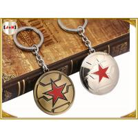 Quality Brass Brushed Custom Made Metal Engraved Name Keychains Five Pointed Star Design wholesale